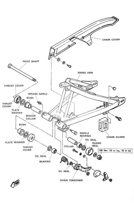 Hinterradschwinge der XT550